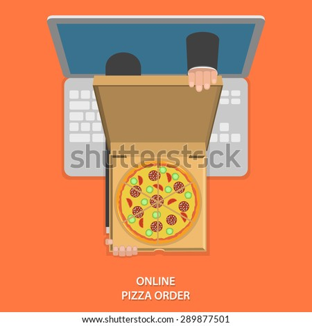 Online pizza order vector illustration. Hands of delivery man with pizza in open box appeared from laptop. - stock vector
