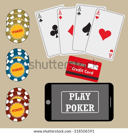 Online poker app on tablet touch screen, smart phone, cards, credit card and chips , vector