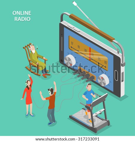 Online radio isometric flat vector concept. People listen online radio while having a rest, dancing, going in for sport. - stock vector