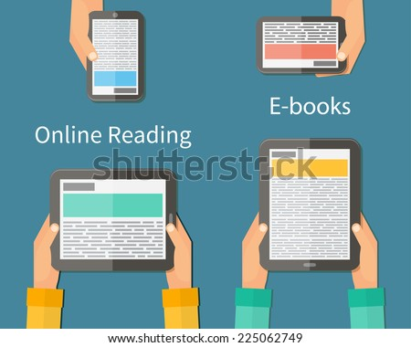 Online reading and E-book. Mobile devices technology concept. Vector illustration - stock vector