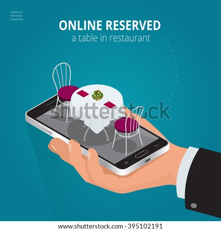 Online reserved table in restaurant.  Concept Reserved in cafe. Flat 3d isometric vector illustration.  - stock vector