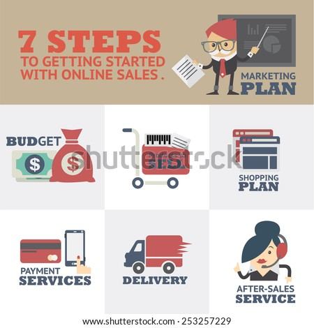 Online Sales Start well to sell products online. The opening online in the form of modern icons .  - stock vector