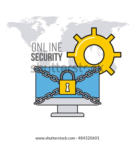 online security flat line icons vector illustration design