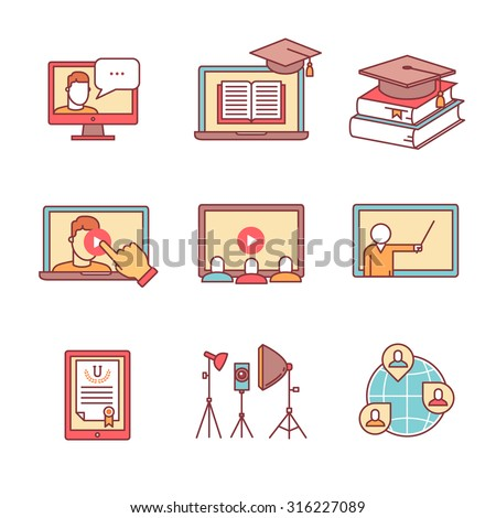 Online seminar icons thin line set. Webinar education and development. Flat style color vector symbols isolated on white. - stock vector