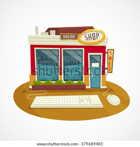 Online shop concept with building and computer mouse and keyboard / vector cartoon illustration  - stock vector