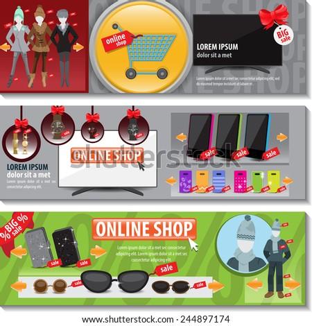 Online Shop Flyer Template Set Vector Stock Photo Photo Vector