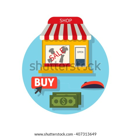 Online shop icon flat. Sale and buy. Buying in the internet shop. Selecting a product with the mouse cursor, the payment of money for the purchase. Showcase trendy clothing store. Vector illustration - stock vector