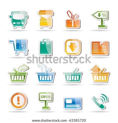 Online shop icons - vector icon set - stock vector