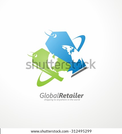 Online shop logo design layout. Global retailer creative symbol concept with price tags and globe in negative space. Business icon vector graphic. - stock vector