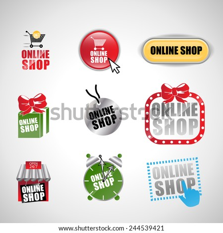 Online Shop Set - Isolated On Gray Background - Vector Illustration, Graphic Design, Editable For Your Design - stock vector