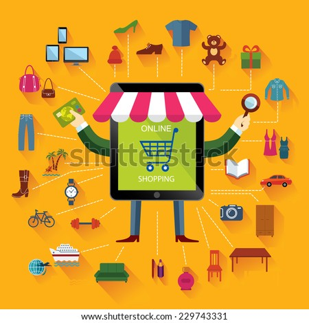 Online shopping and business. Conceptual background. Set of flat icons and design elements. - stock vector