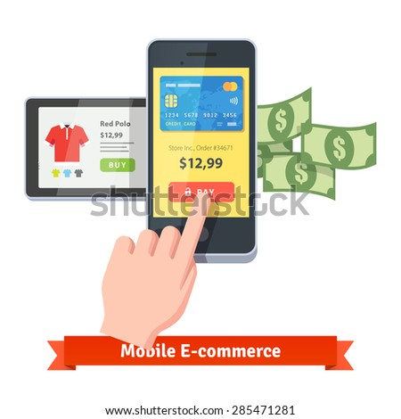 Online shopping and mobile payments concept. Human hand finger pressing pay button on a smartphone with running payment app and some cash flying out. Flat style vector icon. - stock vector