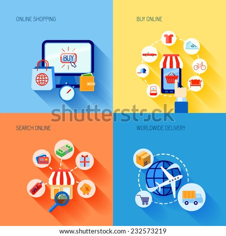Online shopping buying e-commerce flat icons set with search worldwide delivery isolated vector illustration - stock vector