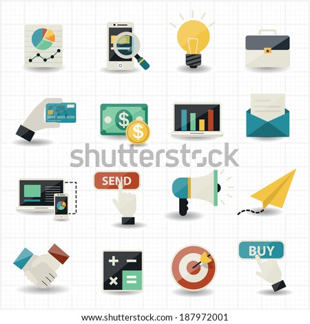 Online shopping commerce and marketing - stock vector