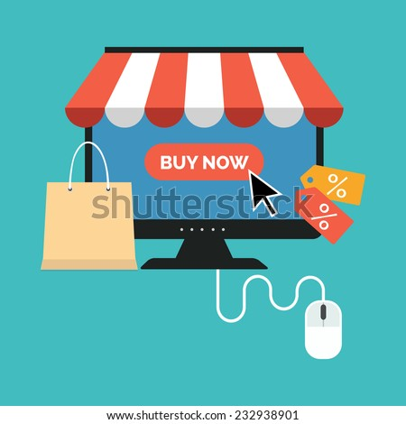 Online shopping concept. Flat design stylish. Isolated on color background - stock vector