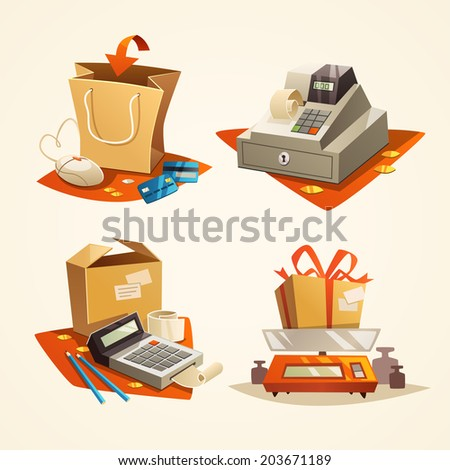 Online shopping concept. Icons. Vector illustration. - stock vector