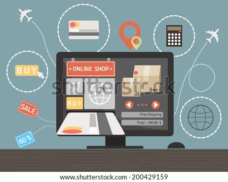 online shopping concept on computer desk vector - stock vector