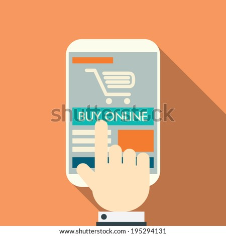 Online shopping concept on modern technology devices with responsive flat web design. Eps10 vector illustration. - stock vector