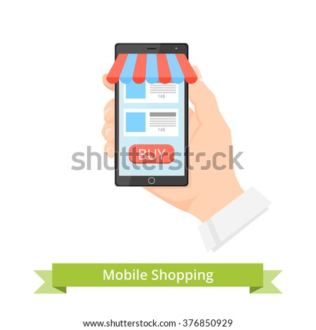 Online Shopping concept. Online Shopping mobile. Online Shopping button.  Online Shopping Mobile with Shopping button. Online Shopping vector illustration. Online Shopping technologies concept.  - stock vector
