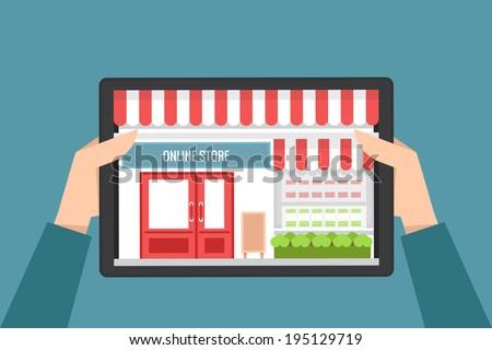 online shopping concept, vector flat design - stock vector