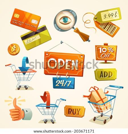 Online shopping concept. Web elements. Vector illustration. - stock vector