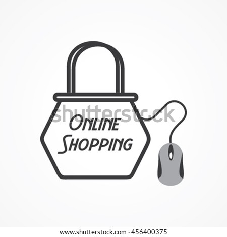 Online shopping Concept with shopping bag and mouse stock vector - stock vector