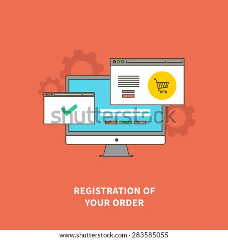 Online shopping, delivery and payment methods. Registration of order. Flat design monitor with browser windows. For web site construction, mobile applications, banners, corporate brochures, layouts - stock vector