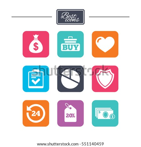 Online shopping, e-commerce and business icons. Checklist, like and pie chart signs. Money bag, discount and protection symbols. Colorful flat square buttons with icons. Vector