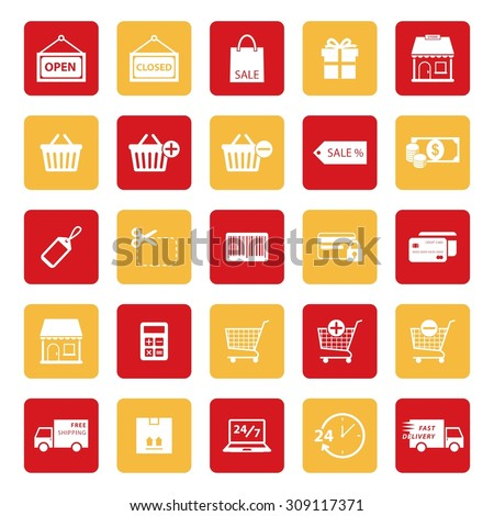 Online shopping icon. Shopping icon. E-commerce icon. silhouette. Vector Illustration. EPS10 - stock vector