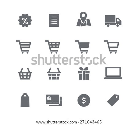 Online shopping icons set. Vector pictogram symbols. Set of shopping cart, basket and bag, delivery, sale, map and other - stock vector