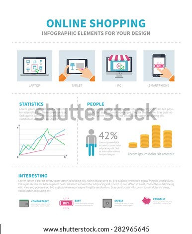 Online Shopping Infographic. Flat design infographic and space for text - stock vector
