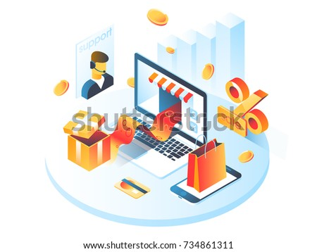 Online shopping isometric shadow illustration with mobile phone, laptop, stores orders isolated vector illustration