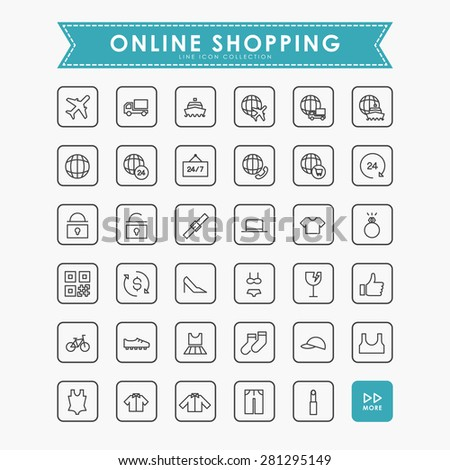 online shopping minimal line icons