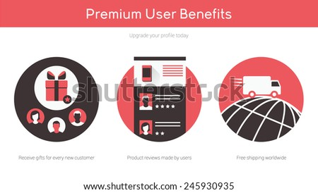 Online shopping on website flat illustrations set - stock vector