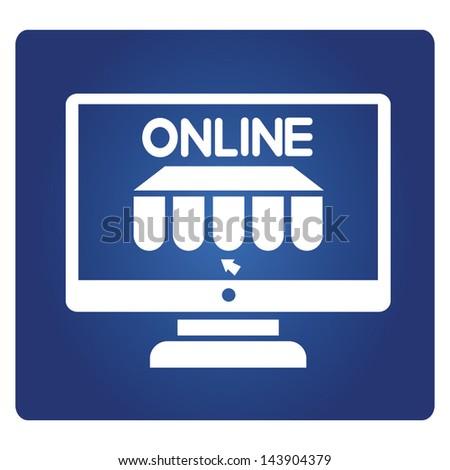 online shopping, online store, e-commerce sign - stock vector