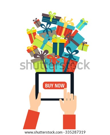 Online shopping - ordering gifts online. A person using modern technology - touch screen tablet for Christmas shopping. - stock vector