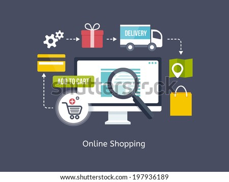 Online Shopping process infographic showing the choice of merchandise off the website  adding it to the shopping cart  payment  packaging  delivery and receipt centred around a desktop computer - stock vector
