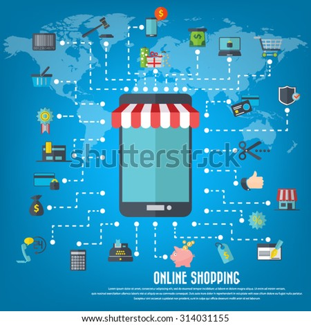 Online shopping - smart phone with awning, various icon set and detailed world map. EPS10 vector. File is layered and can be used in any project. - stock vector