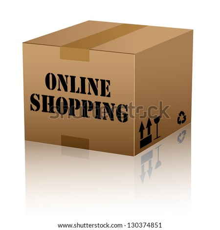 online shopping text over cardboard box isolated. vector illustration