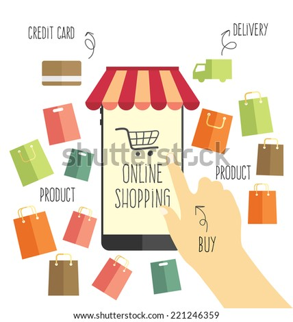 online shopping vector  - stock vector