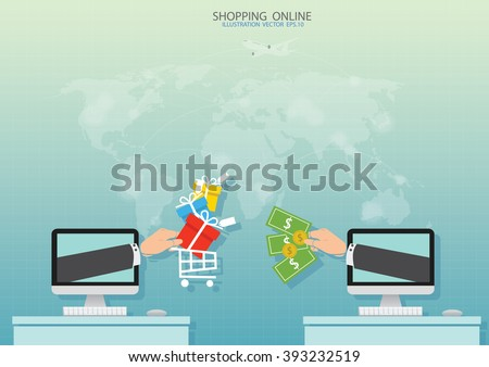 Online shopping vector illustration - stock vector