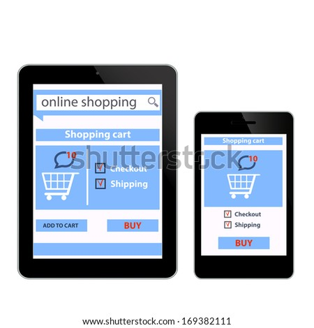 Online shopping with digital tablet smartfon ecommerce background white isolated in vector - stock vector