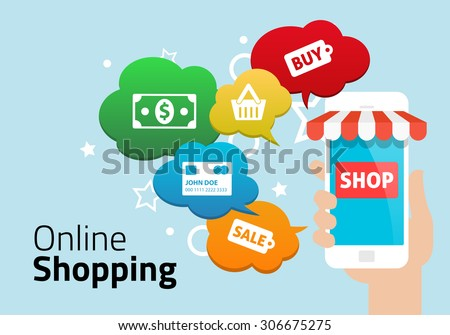 Online Shopping with Smart Phone - stock vector