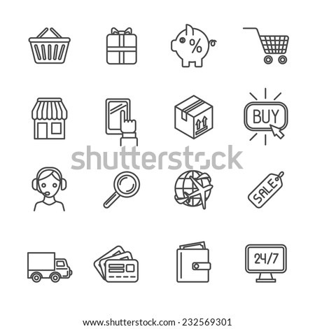 Online shopping worldwide delivery e-commerce outline icons set isolated vector illustration