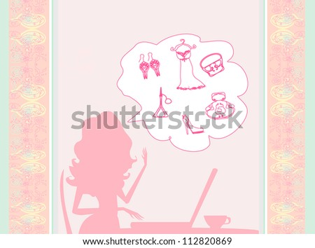 Online shopping - young smiling woman sitting with laptop - stock vector