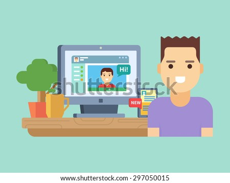 Online social communication. Internet media, web technology, message and network, flat vector illustration - stock vector