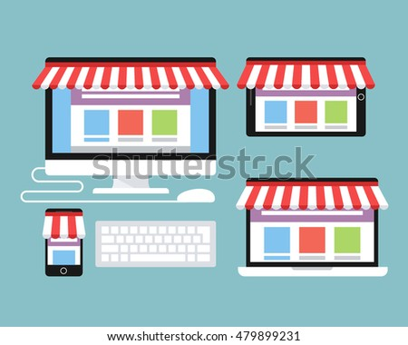 Online store. Desktop computer , laptop, tablet and smart phone with awning