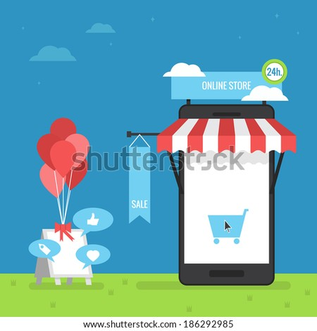 online store mobile flat design - stock vector