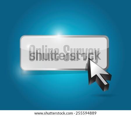 online survey button illustration design over a blue background - stock vector