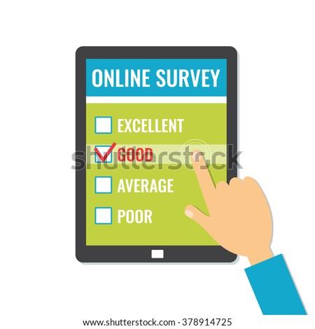 Online survey. Customer service feedback on screen tablet. Flat style vector illustration isolated on white background. - stock vector
